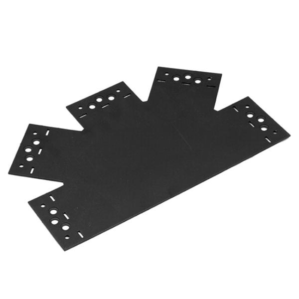 Összekötő lemez fekete 5 ágú 315 x 200 x 85 díszítőelemmel kiegészíthető